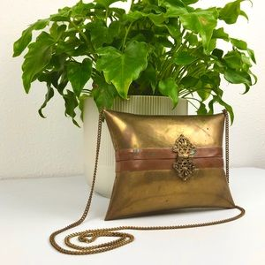 VINTAGE ANTIQUE 1920 Brass Metal Shoulder Chain Ba